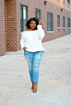 Rip and Repair Crop Jeans    $48.90 | Roughed up, ripped and faded to perfection, the Rip and Repair plus size skinny jeans deliver a bold take on the distressed trend. Complete with love-worn shredding down the thighs, this tough-chic pair is perfect for the weekend. High waist, zip fly with button closure, five-pocket styling, cropped leg.