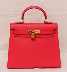 8f811ab4f06f Сумка Hermes kelly из твердой держащей форму натуральной кожи Epsom,  красно-розовый цвет с
