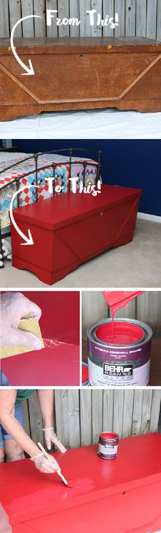 Turn your thrift store treasure into a modern statement piece with this DIY vintage cedar chest makeover from Kathy, of Petticoat Junktion. Kathy used a coat of No More Drama to add a bold pop of color to her guest bedroom with this bright red storage chest. Check out her easy tutorial to get started on your next big home improvement project.