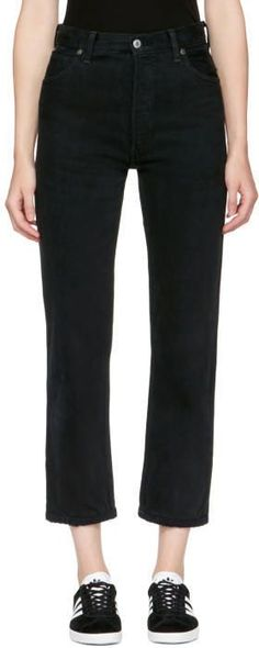 RE/DONE Re-Done Black Levis Edition Destruction High-Rise Crop Straight Jeans