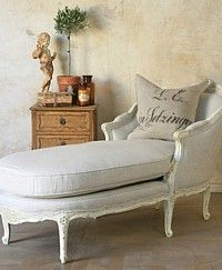 Eloquence Louis Linen Chaise Antique White-French, Vintage, Shabby Chic, furniture,bedroom,lounge, glamorous,