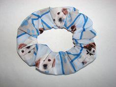 Puppies dogs Canines On Blue Fabric Hair by coloradocntry on Etsy