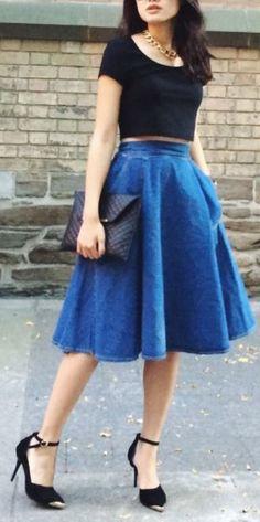 20 Ideas De Falda Larga Azul Outfits Faldas Azules Faldas Azules Largas