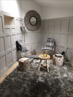 Panelled Dining Area Stone and Ball mirror Skimming Stone, Purbeck Stone, Driftwood Mirror, Studio Room, Garden Studio, Panelling, Living Room Grey, Hallway Decorating, Dining Area