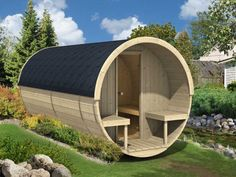 Enjoy the luxury of an at-home sauna with the Allwood Nordic Spruce Barrel Sauna. This sauna features a Nordic birch construction with a large barrel shape that not only offers a unique look, Saunas, Glamping, Portable Steam Sauna, Wood Burning Heaters, Barrel Sauna, Outdoor Sauna, Cabin Kits, Eco Cabin, Dome House