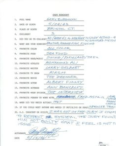 GARY BURGHOFF HAND SIGNED+FILLED OUT 20 QUESTIONS       RADAR FROM MASH