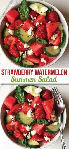 Strawberry, Watermelon, Feta & Mint Cucumber Salad The Dish On Healthy - Zucchini Recipes Cucumber Recipes, Watermelon Recipes, Mint Recipes, Watermelon Healthy, Strawberry Salads, Strawberry Spinach, Juice Recipes, Greek Recipes, Cucumber Watermelon Salad