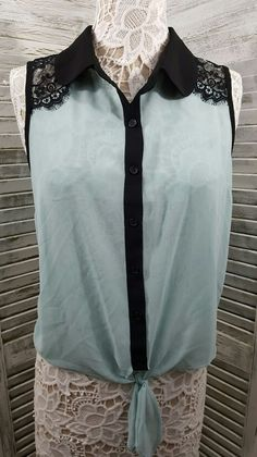 FOREVER 21 Sheer Mint Green W/Black Lace Collared Button Tie Down Junior Sz L | Clothing, Shoes & Accessories, Women's Clothing, Tops & Blouses | eBay!