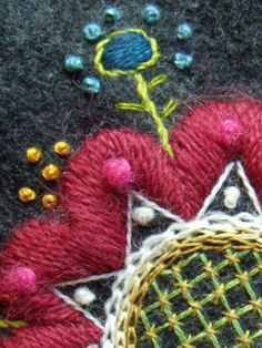 embroidery on wool mittens