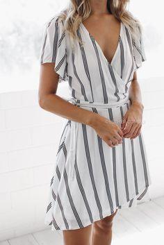 Lola Wrap Dress in Stripe - $49.95