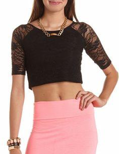 Raglan Sleeve Lace Crop Top: Charlotte Russe