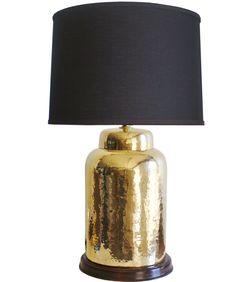 Vintage Hammered Brass Table Lamp