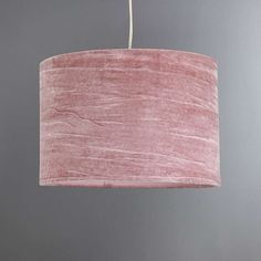 Lulu Small Pink Crushed Velvet Light Shade | Dunelm