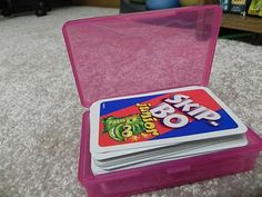 Getting Organized Without an Expensive Trip to The Container Store | The Budget Diet    Dollar Store soap carrier for cards/card games