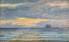 Christian Blache 1838-1920: Solnedgang over havet. Sign. Chr. Blache, Hirtshals 1912.  Olie på lærred. 39 x 63 cm (54 x 78 cm)