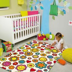 Arte Espina Kids Rug 4484 39 - Free UK Delivery - The Rug Seller Contemporary Rugs, Modern Rugs, Rugs On Carpet, Carpets, Floral Rugs, Modern Floral Design, Childrens Rugs, Kids Line, Creative Play