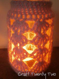 Crocheted Soft Pink Glass Jar £3 via https://folksy.com/items/6562303-Soft-Pink-Wool-Candle-Holder-Jar