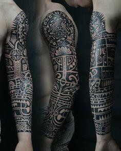 Tattoo Andrey Anich - tattoo's photo In the style Ethnic, Ornamental, Male, Aztec, Ornamen Mayan Tattoos, Tribal Shoulder Tattoos, Tribal Tattoos For Men, Mens Shoulder Tattoo, Tribal Sleeve Tattoos, Tattoo Sleeve Designs, Hand Tattoos, Body Art Tattoos, Turtle Tattoos