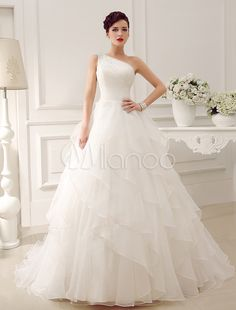 Ivory One-Shoulder Rhinestone Satin Organza Tulle Wedding Dress