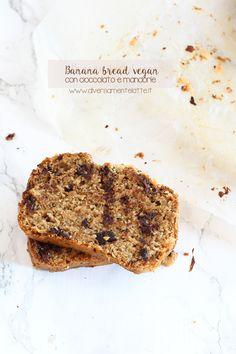 Banana bread #vegan con cioccolato e mandorle #lactosefree #diversamentelatte