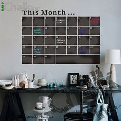 This Month Calendar Planner Chalkboard Sticker Wall by iChalkInc, $32.00
