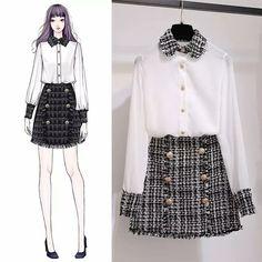 Korean Fashion Trends you can Steal – Designer Fashion Tips Dress Illustration, Fashion Illustration Dresses, Fashion Illustrations, Cute Fashion, Girl Fashion, Fashion Dresses, Hijab Fashion, Dresses Dresses, Muslim Fashion