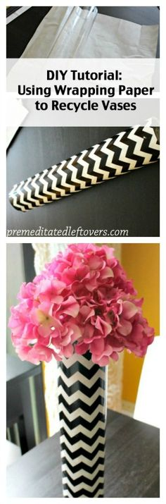 Update old flower vases with wrapping paper for a whole new look. | home decor