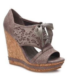 Take a look at this Gray Lace Adia Wedge Sandal today!