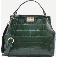 SheIn(sheinside) Green Crocodile Embossed Double Turnlock Satchel Bag (30 CAD) ❤ liked on Polyvore featuring bags, handbags, green, convertible satchel handbag, croco handbag, convertible handbag, satchel purses and crocodile handbags