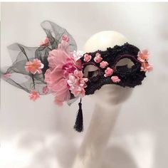 Pink Flower Black Beaded Lace Carnival Gala Masquerade Ball Face Mask SKU-321133