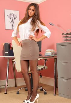 Louisa Marie photo-shoot in Office Secretary Outfit – Models By Anil Blon Nylons, In Pantyhose, Louisa Marie, Secretary Outfits, Satin Blouses, Office Looks, Indian Celebrities, Outfit Combinations, Office Ladies
