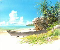 Art by Kazuo Oga - Background Art Studio Ghibli Fantasy Landscape, Landscape Art, Landscape Design, Fantasy Art, Background Drawing, Animation Background, Environment Concept Art, Environment Design, Art Studio Ghibli