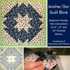 """Goshen Star quilt block. Pattern and instructions for 8"""", 12"""" and 16"""" finished blocks.  http://www.generations-quilt-patterns.com/goshen-star-quilt-block.html"""