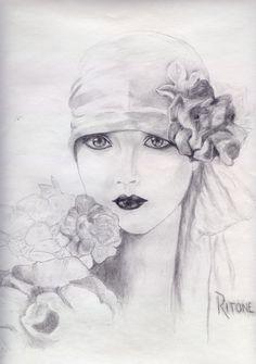 Fashion Wall Art, Art Deco Fashion, Pinturas Art Deco, Art Deco Cards, Art Deco Paintings, Urbane Kunst, Art Journal Techniques, Art Sketchbook, Face Art