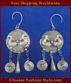 Tribal Silver Earrings Chinese Ethnic Hmong Miao Jewelry #102 Uniquely Handmade  http://www.chinesefashionstyle.com/earrings/
