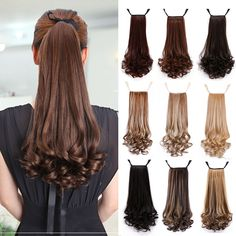 Fake Hair Ponytails Curly Synthetic Pony Tail Heat Resistant Long Wavy Brown Clip Hair Extension For Women PonyTail Wavy Ponytail, Ponytail Hairstyles, Clip In Hair Extensions, Long Curly, Synthetic Hair, Hair Pieces, Hair Styles, Womens Fashion, Curled Ponytail