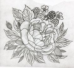 #flower #tattoo #line #black #newtraditional #rose #neotraditionel neo traditionel #illustration