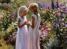 """Shared Treasures"" by Jeffrey T. Larson  my sister and i :)  at mid morning, in the summer, Jeff paints in his garden.  They planted delphiniums everywhere."