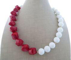 Collar de coral rojo collar blanco grueso collar por Sofiasbijoux