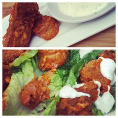"Homemade Vegan Buffalo Wings (""Multivores"" in the kitchen) - JL Goes Vegan Entree Recipes, Vegetarian Recipes, Vegan Wings, Vegetable Kebabs, Roast Dinner, Buffalo Wings, Vegan Dishes, Vegan Food, Yummy Eats"