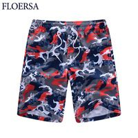 FLOERSA Summer Loose Beach Shorts Men Camouflage Printed Casual Shorts Men Large Size Masculina Jogger Short Pants #50250