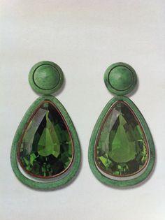 18k gold, copper, green turquoise & green tourmaline earrings // hemmerle