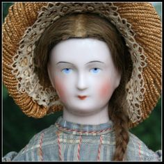 "RARELY FOUND 27"" Schlaggenwald Wigged China Doll"