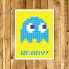 Inky, Pacman Poster / WordBirdShop