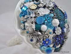 Blue Jeweled Button Bouquet - Blue Petyl