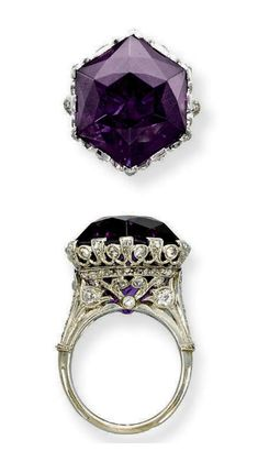 A BELLE EPOQUE AMETHYST AND DIAMOND RING Set with an hexagonal amethyst to the openwork millegrain diamond-set gallery and half-hoop, circa 1915, ring size 7, with French assay marks for platinum and gold