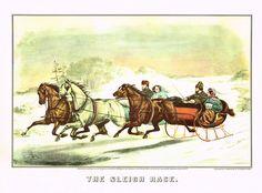Currier & Ives The Sleigh Race