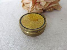Antique Vintage French Guilloche Enamel Patch Box, Pretty Golden Enamel Pill Box, Engraved Brass Box, Mirror Lid, Paris Boudoir Chic by SweetVintageDream on Etsy