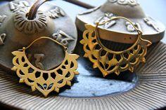 Tribal ethnic brass earrings by GretelCreativeWear on Etsy