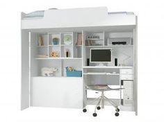 Módulo Office Teen com Cama Solteiro - Escrivaninha 2 Gavetas - Santos Andirá